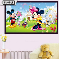 Full DIY 5D Diamond Painting Cross Stitch Cartoon Animal Mickey Mouse Diamond Embroidery Mosaic Rhinestones For