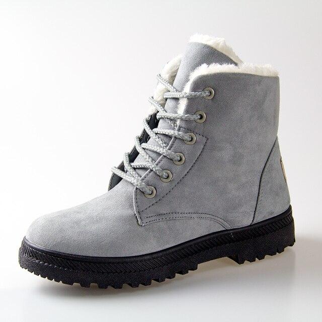 Mulheres Botas de Inverno 35-42 Botas De Neve Pele Mulheres Botas Ankle Boots de Salto Sapatos de Inverno 2016 Sapatos Da Moda Quentes