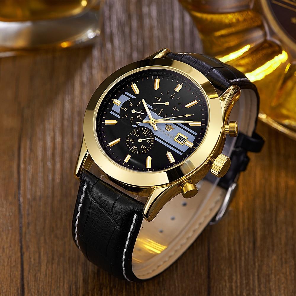 2017 OYW Brand Self Wind Mechanical Men Wristwatch Relogio Masculino Leather Strap Luxury Gold Black Fashion Dress Watches Gifts
