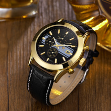 2017 OYW Brand Self Wind Mechanical Men Wristwatch Relogio masculino Leather Strap Luxury Gold Black
