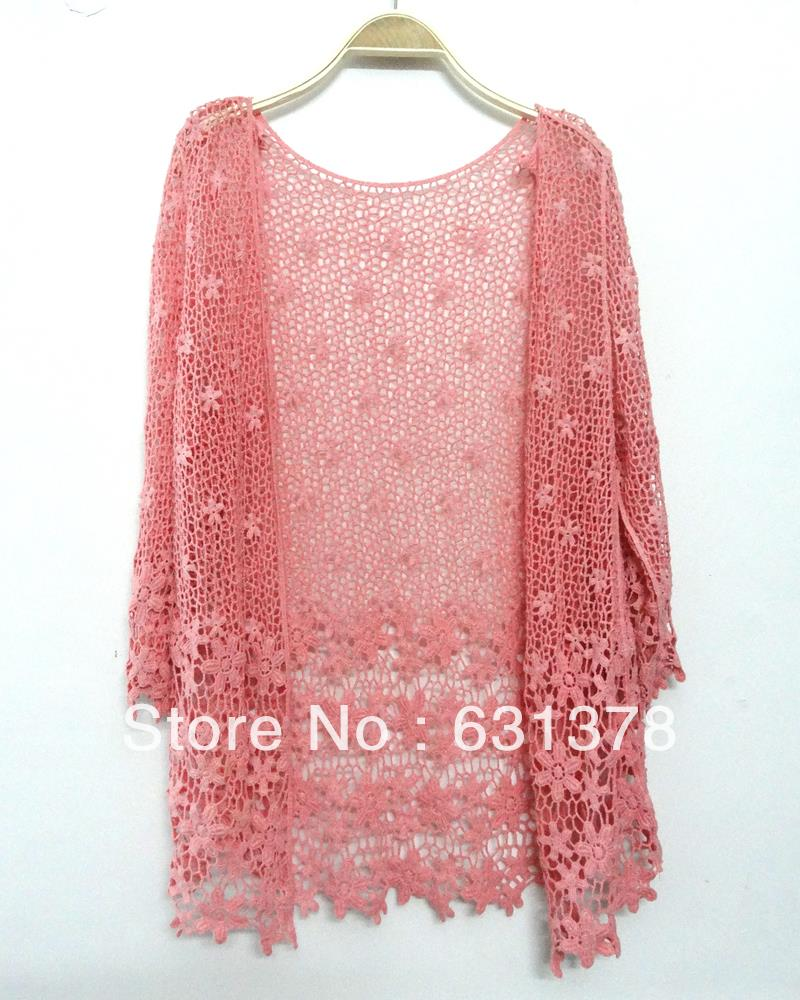 Women Embroidery Crochet Lace Floral Cardigan Hollow Retro Knit ...