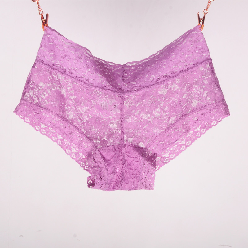 Hot Sale Sexy Women Boxer Shorts Lace Panties Transparent Boyshort Brand Underpants Female Knickers Full Lace Boxers Underwear