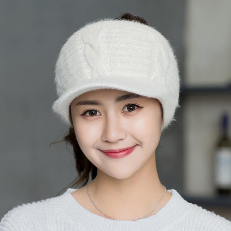 SMTZZJ Winter College Girls Grey Empty Top Hat For Women Fashion Cap Casual Sport Outdoor Foldable Wool Knitted Baseball Caps