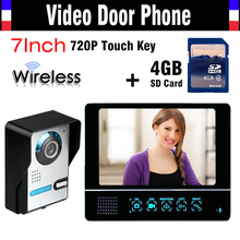 Wireless Video font b Door b font Phone Doorbell Intercom System 4GB SD Card Record 7