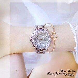Image 4 - Женские кварцевые часы BS, модные роскошные женские наручные часы с кристаллами и стразами, золотые часы браслет