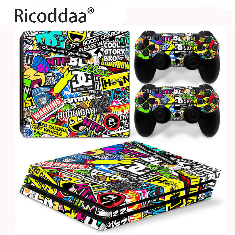 Removable Vinyl Skin Sticker Decal For PlayStation 4 Pro Console With 2 Controllers For PS4 Pro Skins Sticker Decal Designs