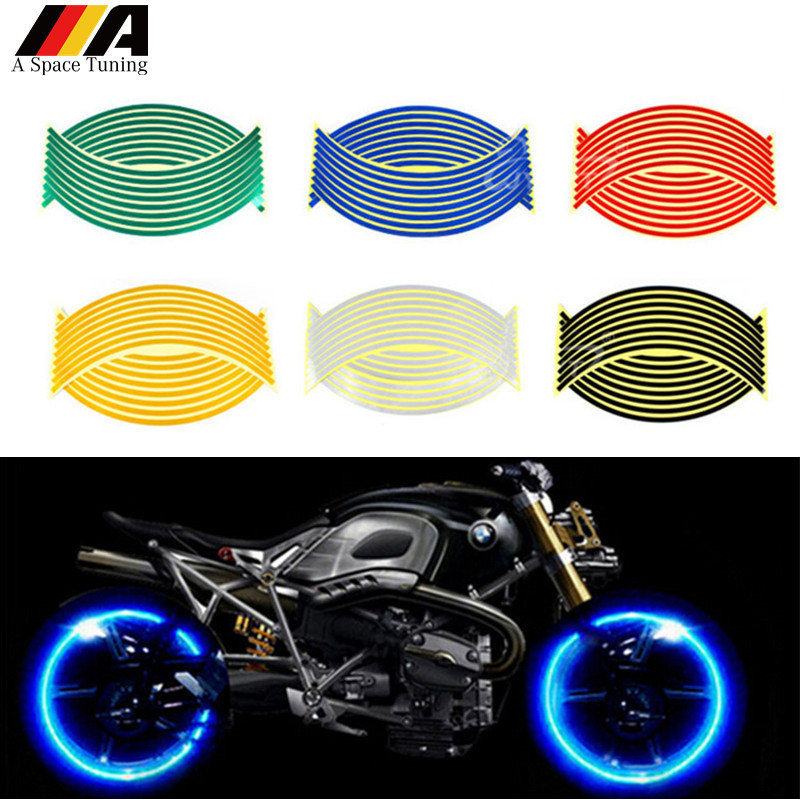 Fit for YAMAHA HONDA SUZUKI Motorcycle Wheel Stripe Stickers Safety Reflector