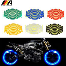 16 Strips Reflective Motorcycle Motocross Bike Sticker Auto Wheel Rim Moto Tape Decal Protector For Yamaha Honda BMW Suzuki KTM(China)