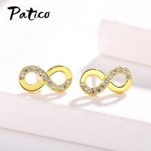 цена на New Statement 925 Sterling Silver Cubic Zirconia Letter Shape Letter 8 Piercing Stud Earrings For Women Ear Rings Jewelry