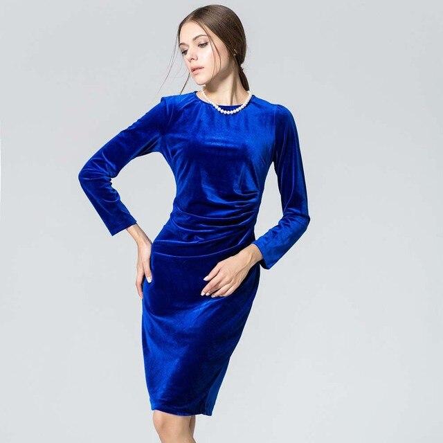 3d1705e10 Vestido de terciopelo de otoño e invierno de las mujeres de manga larga  vaina Casual Vestidos