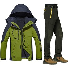 Men Winter Warm Ski Jackets Pant suits Waterproof Fleece Thermal Coat Outdoor Hiking Camping Snowboard 2 in 1 Jackets Pants sets hot 2017 outdoor winter thicken villi thermal ski wear warm waterproof can remove bladder mountain climbing hiking jackets men