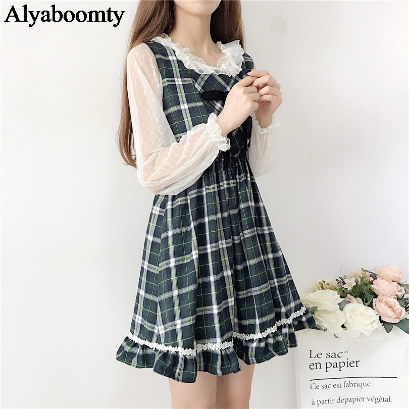 Japanese Preppy Style Spring Summer Women Sundress Elegant Plaid Sleeveless Dress Cute Kawaii Ruffles Crochet Bow Girl's Dresses