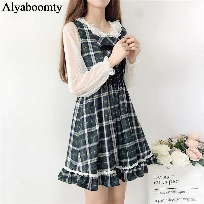 9550b8abcc4 Japanese Preppy Style Spring Summer Women Sundress Elegant Plaid Sleeveless  Dress Cute Kawaii Ruffles Crochet Bow