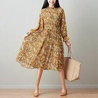 2018 Plisowane Sukienki damskie Floral Lato Sukienka Szyfonowa Długa Sukienka W Stylu Vintage Robe Femme Vestidos Vestido De Festa Kobiety Odzież