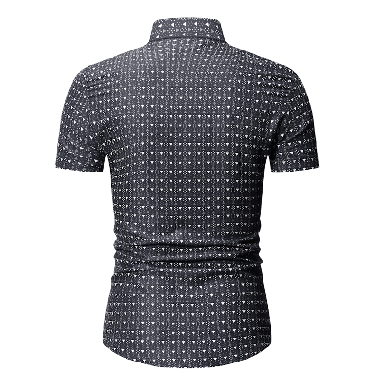 MarKyi Triangle print short sleeve casual shirt men good quality plus size slim fit hawaiian shirt in Casual Shirts from Men 39 s Clothing