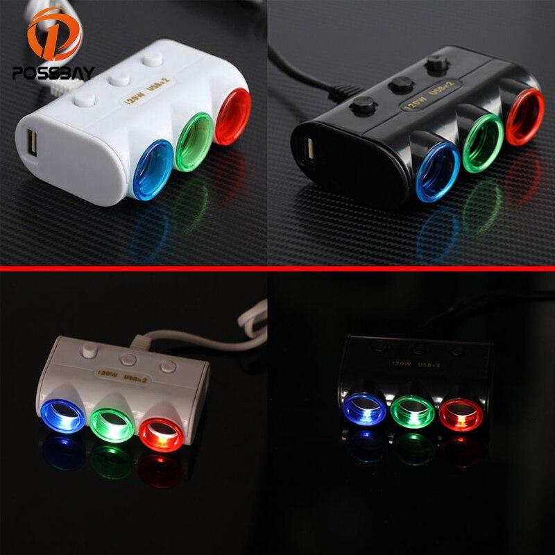 POSSBAY 95% de descuento Universal 3 maneras de coche Triple Led encendedor Cargador/divisor de enchufe adaptador de corriente 2 USB Cenicero de coche