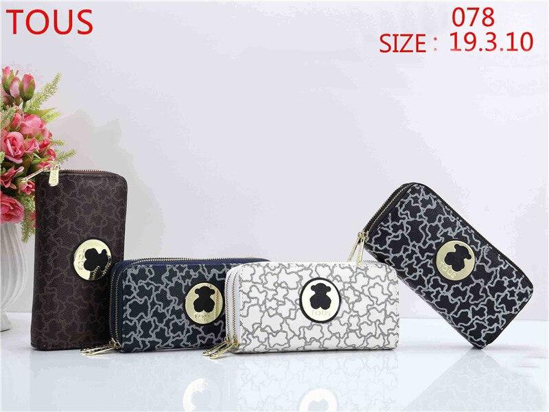 TOUS wallet Womens Wallets Purses Plaid Leather Long Wallet Hasp Phone Bag Money Coin Pocket Card Holder Female Wallets Purse