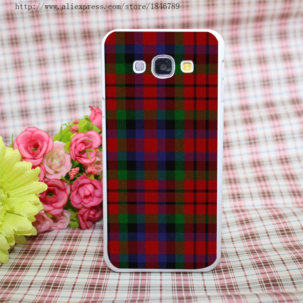 RED BLUE font b TARTAN b font SCARF FASHION Style White Hard Case Cover for Galaxy
