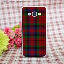 RED BLUE TARTAN SCARF FASHION Style White Hard Case Cover for Galaxy A3 A5 A7 A8 Note 2 3 4 5