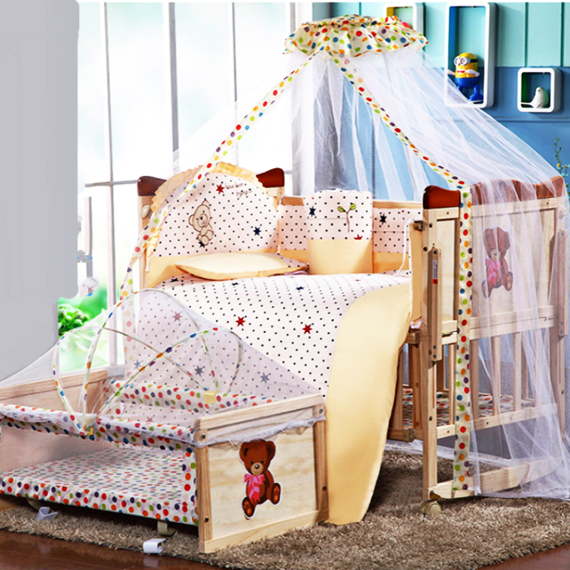 High Quality No Paint Pine Wood Baby Bed Multifunction Baby Game Crib Bedding Suit Newborn Cradle Trolley Bed Changable Desk high quality solid wood children bed lengthen widen baby wooden bed combine big bed child kids baby crib