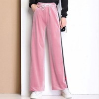 Gold velvet wide leg pants female18 autumn and winter new elastic waist elastic high waist Korean trousers women's casual pants