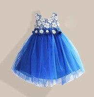 Lace Flower Girl Party Dress 6 Cols Solid Blue Children Girls Wedding Dress Appliques Bow Belt vetement fille 3 8T