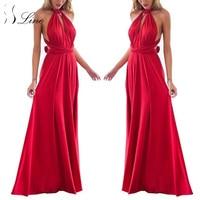 SSLine Sexy Women Boho Maxi Club Dress Solid Bandage Long Dresses Womens Party Multiway Bridesmaids Convertible