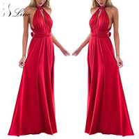 SSLine Sexy Women Boho Maxi Club Dress Solid Bandage Long Dresses Womens Party Multiway Bridesmaids Convertible