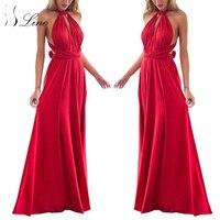 SSLine Sexy Women Boho Maxi Club Dress Solid Bandage Long Dress Women Party Multiway Bridesmaids Convertible