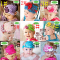 27 estilo de mayor venta sombreros del bebé / Toddle Head Band diseño moda bebé dedicada flor de la pluma modelado de venda del pelo del diamante