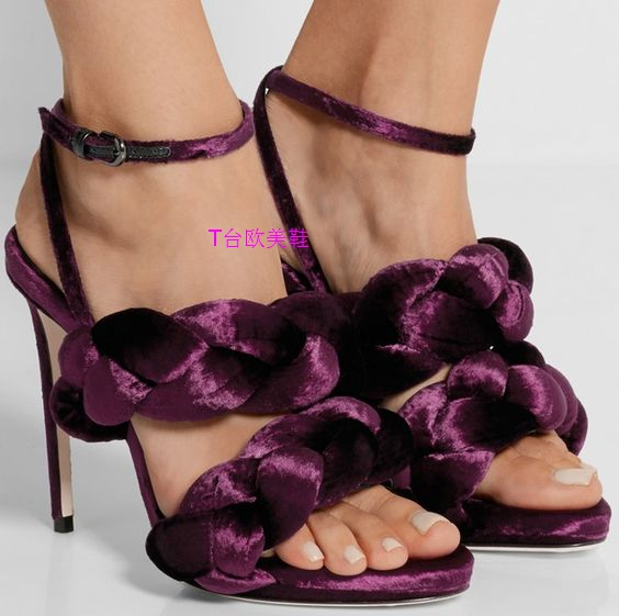 real picture Roman Design Solid Color Twist Braid Sexy High Heel Sandal Hollow Out Open Toe Weaving Ankle Wrap Buckle Women Shoe in High Heels from Shoes