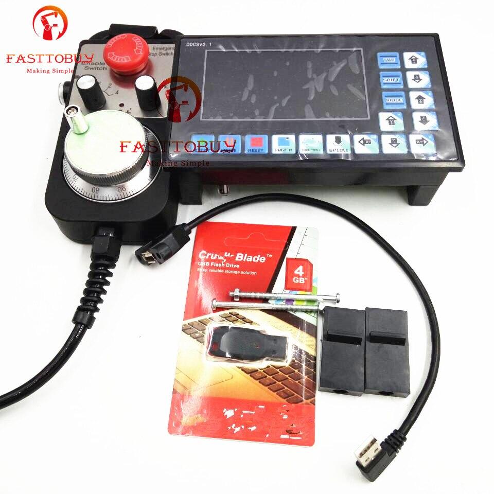 4 axe Contrôleur Hors Ligne DDCSV2.1 + Volant MPG Kits 500 khz G Code Mach3 USB CNC Contrôleur pour Routeur Gravure de forage