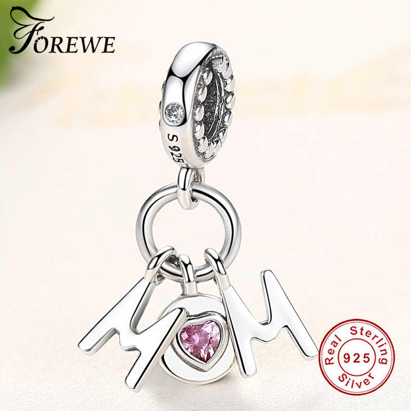 Розовый CZ мама болтается Шарм Подходит оригинальный Pandora амулеты Браслеты 925 пробы серебряные буквы бусины для изготовления ювелирных изделий матери подарки