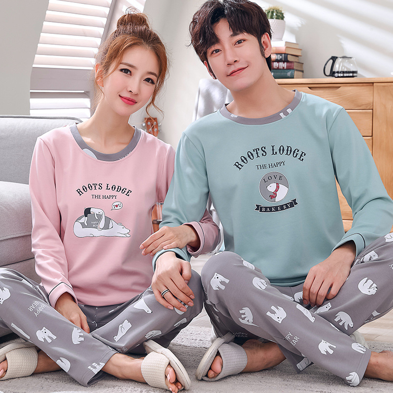 Lovers' Clothes Women Men Cotton Pajama Sets Long Sleeve Striped Sleepwear Couple Casual Homewear Unisex Look Nightwear 2pcs/set