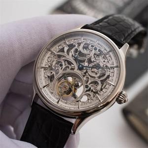 Image 3 - Voller Skelett Mechanische Uhren Männer der ST8000K Tourbillon bewegung Männer Armbanduhr Krokodil Lederband saphir Uhr