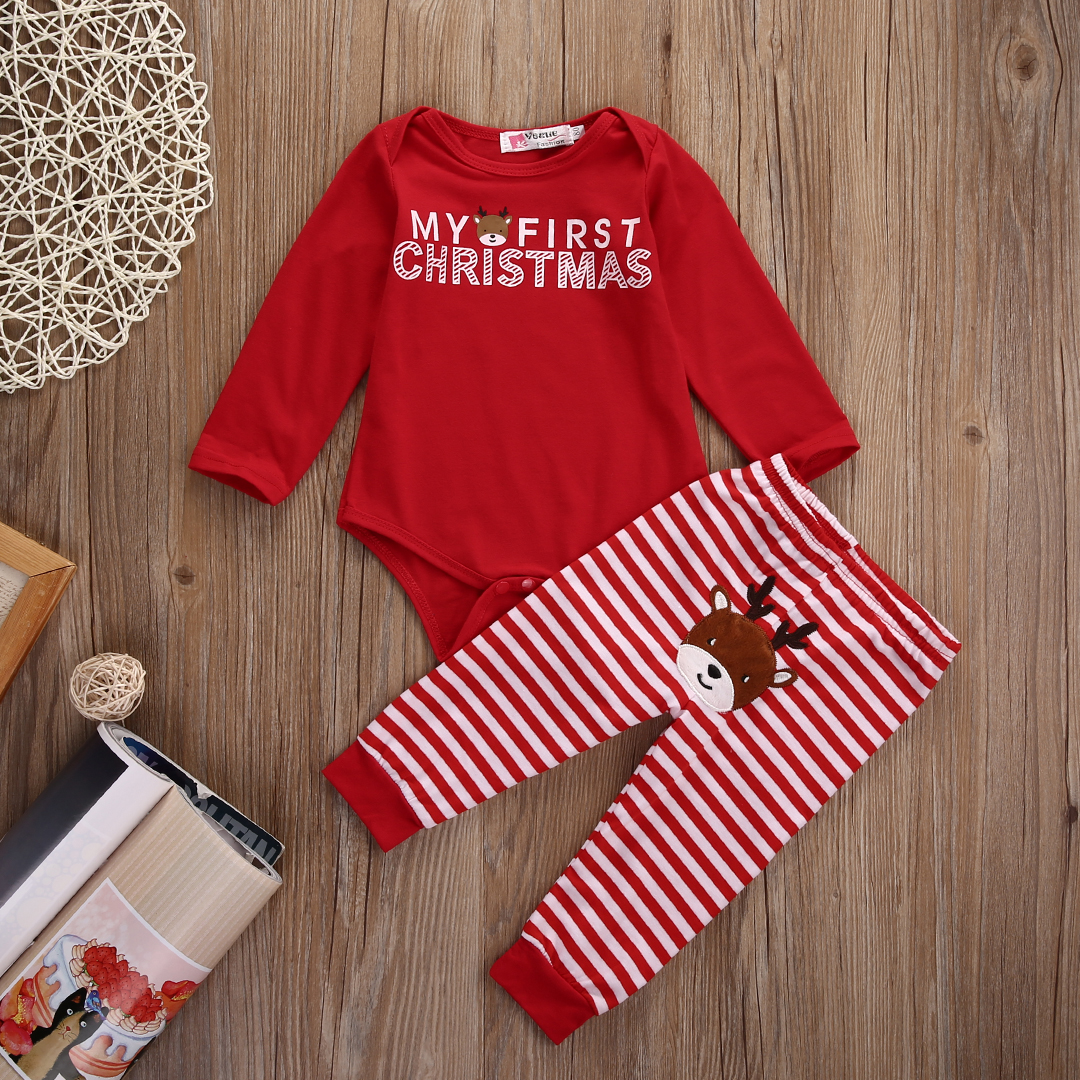 Christmas Newborn Baby Boy Girl Clothes Bodysuit Romper and  Deer Pants Outfit Xmas 2017 newborn baby boy girl clothes floral infant bebes romper bodysuit and bloomers bottom 2pcs outfit bebek giyim clothing