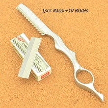 Meisha Safety Hair Cutting Razors for Hairdressers Steel Barber Salon Thinning Tools+10pcs Blades Scraping Eyebrow Knife HC0007