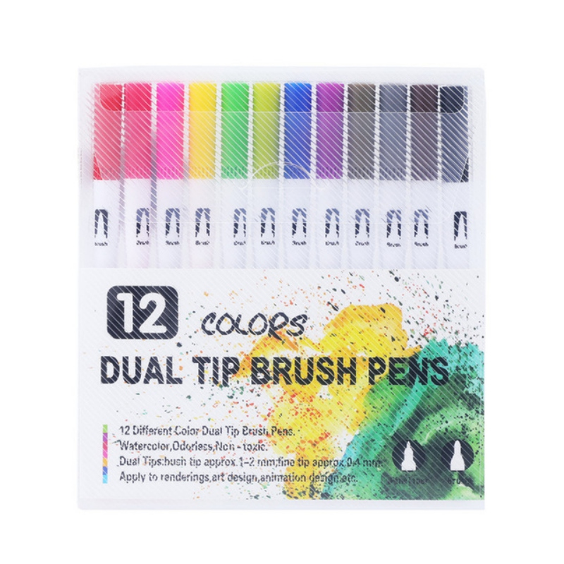 12 18 24 36 48 60 Pack Colorful Art Marker Dual Tips Coloring Pens Water Marker Double Head Water Mark Watercolor Pen PVC Bag in Paint By Number Pens Brushes from Home Garden