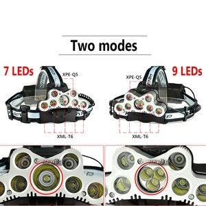 Image 2 - סופר בהיר פנס 9 LED פנס CREE XML T6 usb נטענת ראש מנורת 18650 סוללה headtorch גבוהה כוח led ראש לפיד