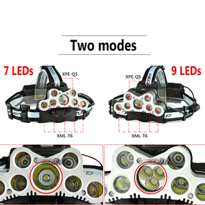Image 2 - super bright headlamp 9 LED headlight CREE XML T6 usb rechargeable head lamp 18650 battery headtorch high power led head torch