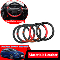 Car Styling Leather Steering Wheel Hub Cover For Ford Focus 4 2018 2019 Car Steering Wheel Cover Internal Decoration