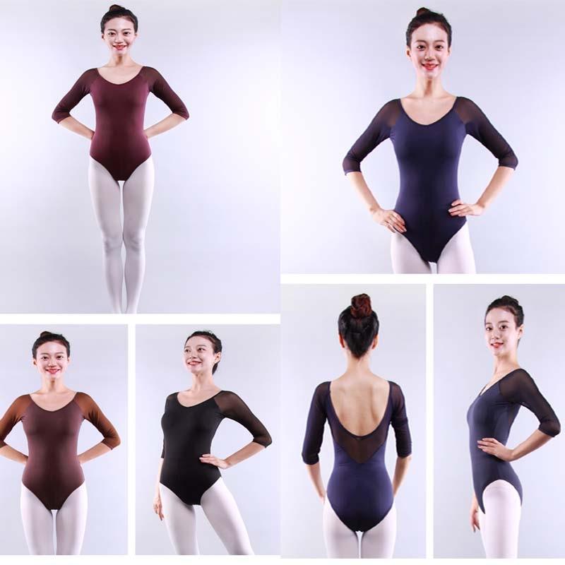 Adult ballet leotard women Sexy Fashion Dance Leotards Black Purple Green Coffee Lace Mesh dancewear