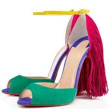 Plus größe 35-43 Sommer neue ankunft Sexy Frauen Sandalen kuh split quaste partei Schuhe aus echtem leder ultrl 12 cm high heels schuhe