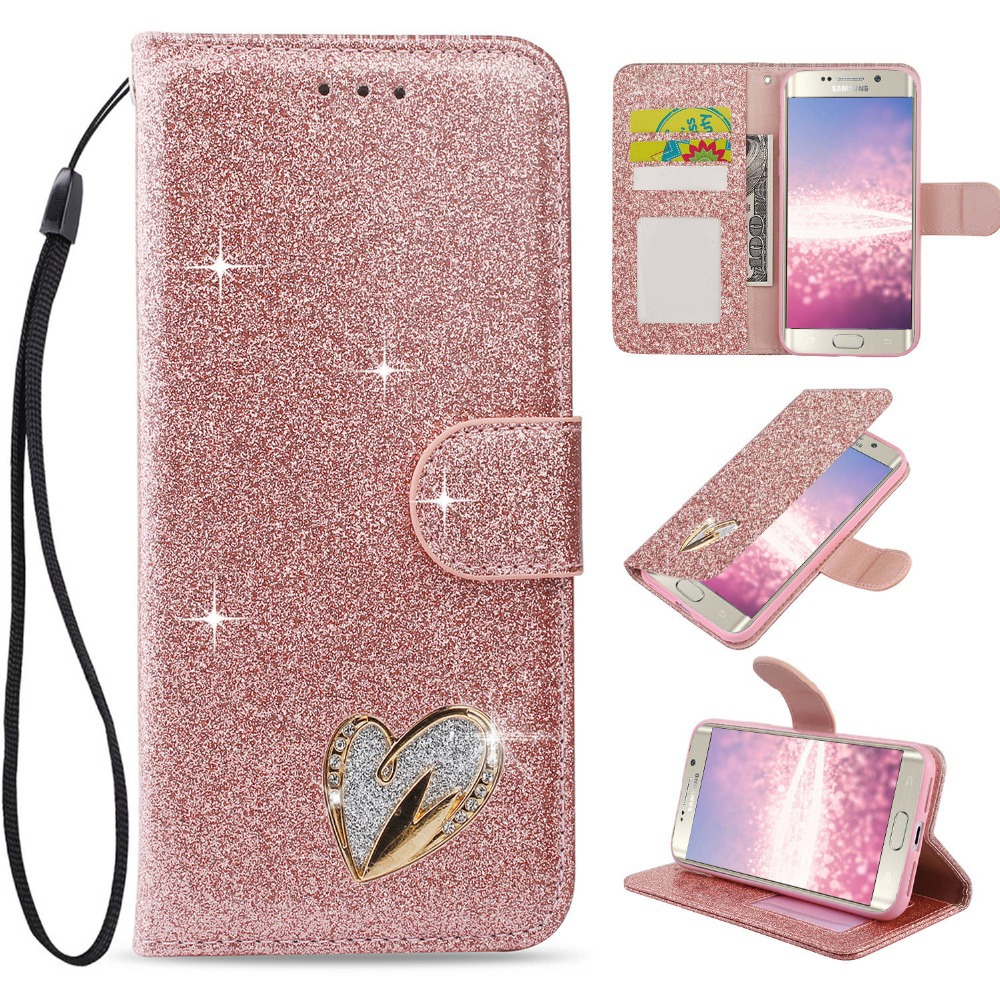 Black Glitter Wallet Case for Samsung Galaxy A5 2017 with Wrist Strap,QFFUN Luxury Bling Magnetic Closure Folio Stand Feature PU Leather Phone Cases Flip Cover Bumper and Screen Protector