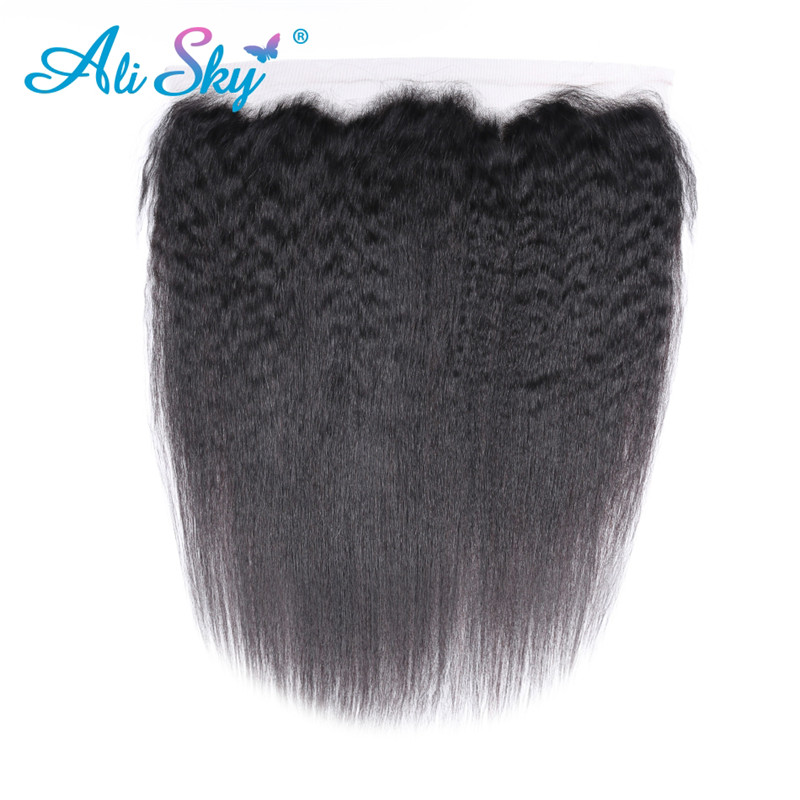 Alisky Hair 13x4 Ear to Ear Brazilian Kinky Straight Lace Frontal Pre Plucked With Baby Hair