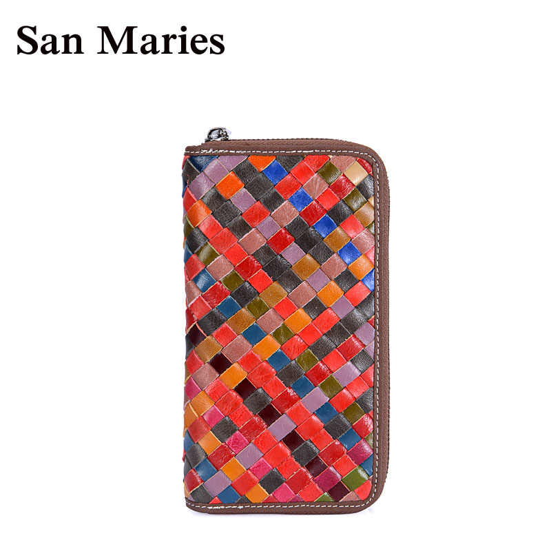 San Maries Woven Colorful Women Purses Long Zipper Genuine Leather Ladies Clutch Cellphone Bags High Quality Card Holder