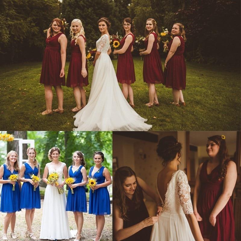 Bridesmaid Dresses Short A-line V-neck Chiffon Burgundy 7 Colors Wedding Party Dresses For WomenEver Pretty Vestido De Festa