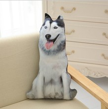CAMMITEVER Cute 3D Cosplay Husky Animals Dog Cushion stuffed Pillow Sofa Car Decorative Cushion Kids Plush Toys Gift