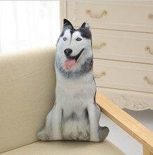 CAMMITEVER Nette 3D Cosplay Husky Tiere Hund ausgestopften Kissen Sofa Auto Dekorative Kissen Plüsch Spielzeug Geschenk