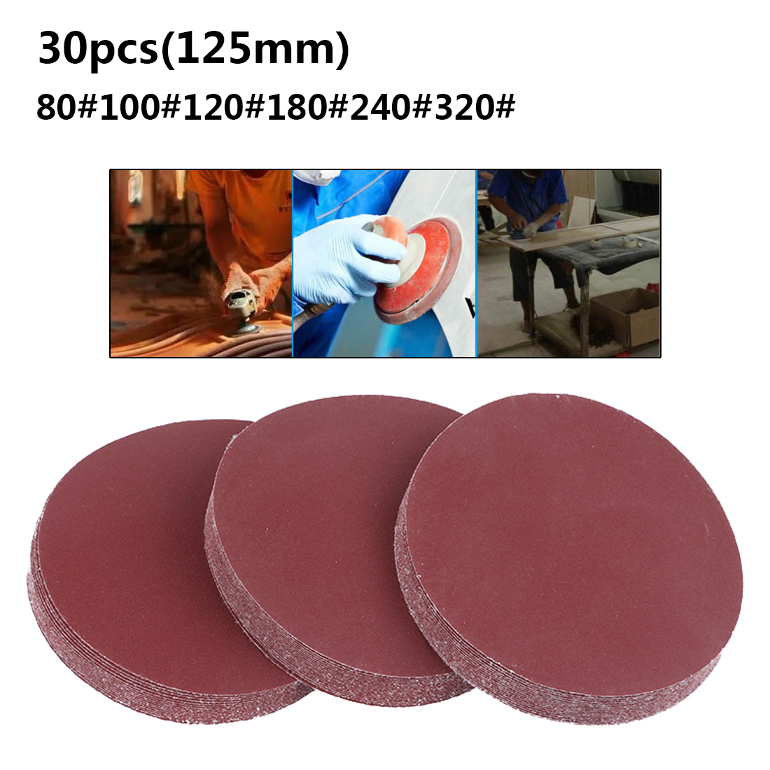 Round Sandpaper Disk 30pcs/set 5inch 125mm Sand Sheets Grit 80/100/120/180/240/320 Hook And Loop Sanding Disc For Sander Grits